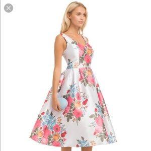 Floral Fit & Flare Dress Chi Chi London Sz UK 16